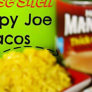 Manwich Cheese Shell Sloppy Joe Tacos.