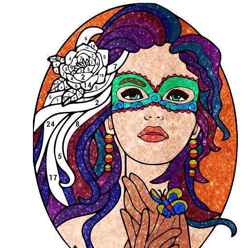 Beauty Glitter Color by Number-Adult Coloring Book Icon