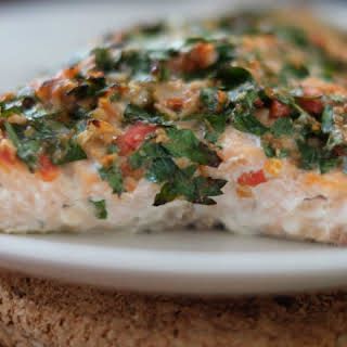 Herb, Tomato, and Nut-Crusted Baked Salmon.