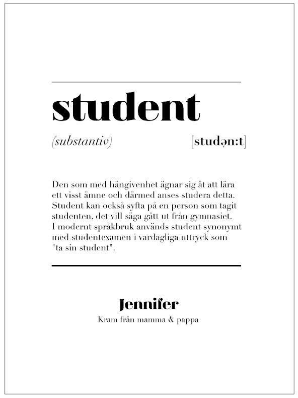 STUDENT IS STUDENTSKYLT STUDENTTAVLA