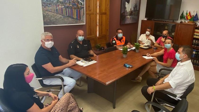 Reunión del \'gabinete Covid\' del Ayuntamiento de Huércal de Almería.