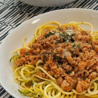 Zucchini Noodles with Ground Chicken.