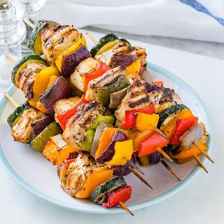 Grilled Chicken + Veggie Kabobs Recipe