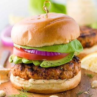 Salmon Burgers with Lemon Dill Sauce.