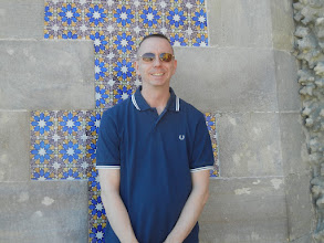 Photo: Chris at the Pena Palace. The walls in the palace are decorated with pretty ceramic tiles, like much of Lisbon
