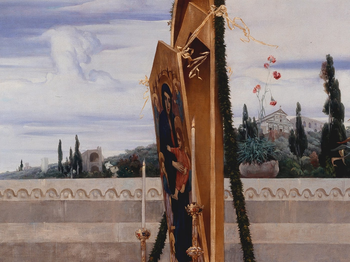 Frederic Leighton, Cimabue's Celebrated Madonna (detail Madonna and San Miniato in the back), The National Gallery, London