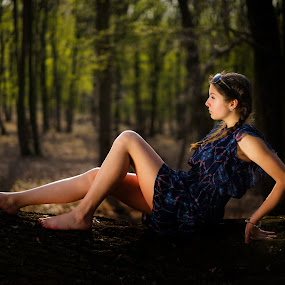 In the light  by Hurghis Vasile - People Portraits of Women ( light painting, nature, colors, woman, still life, green, lifestyle, woodland, natural, people, light, portrait )