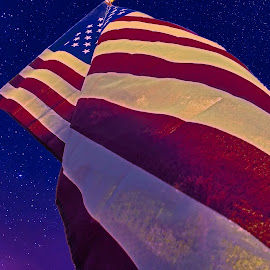 Old Glory by Bill Diller - City,  Street & Park  Street Scenes ( starry sky, close up, usa, flag, michigan, icon, waving, old glory, breeze, stars, stars & stripes, american flag, red, stars and stripes, white, blue, closeup, red white and blue, united states of american )