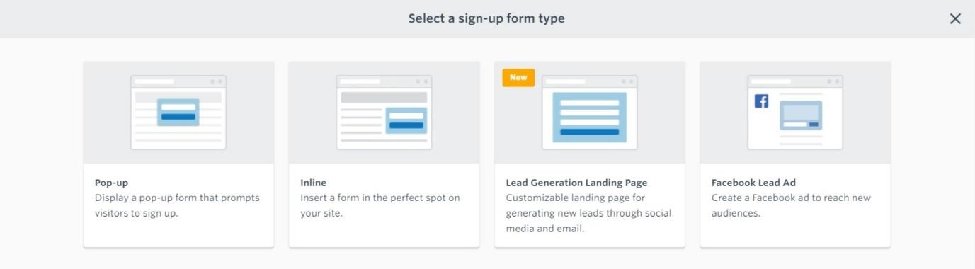Select a sign up form type constant contact