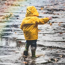 Rain by Jenny Hammer - Babies & Children Babies ( rain, rainbow, pacific northwest, baby, cute )