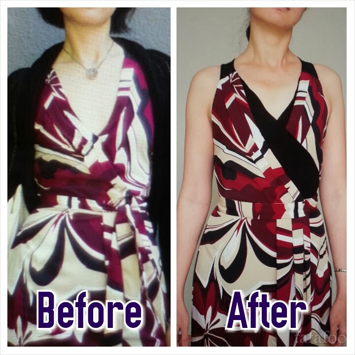 Neckline Fix for Wrap Dress - DIY Fashion Garments | fafafoom.com