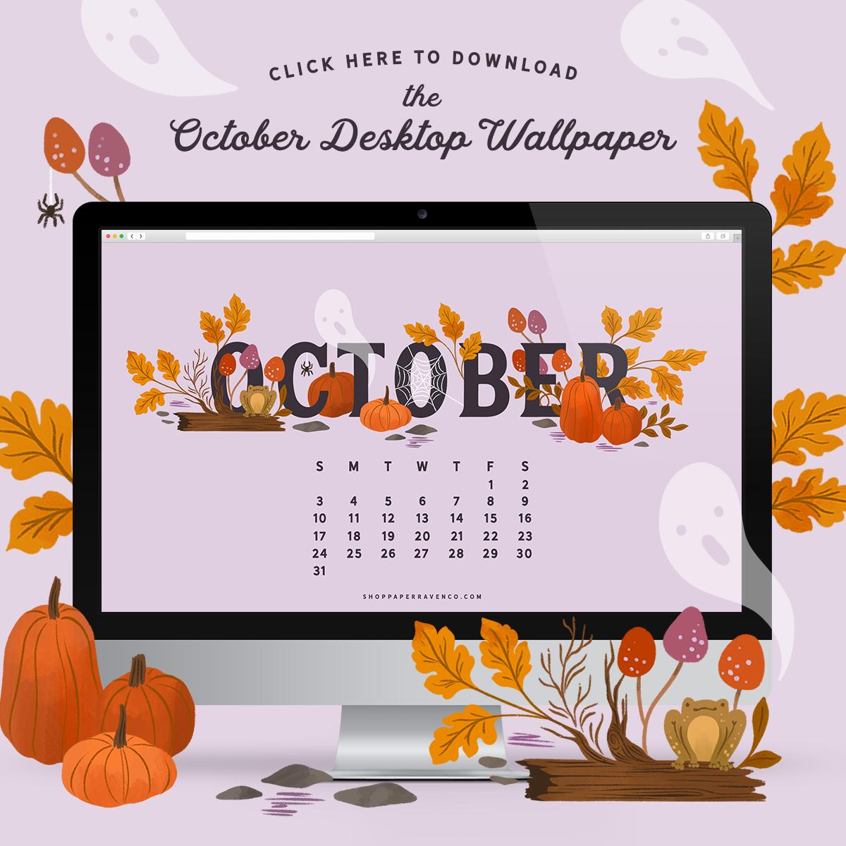 October 2021 Illustrated Desktop Wallpaper by Paper Raven Co. #dressyourtech #desktopwallpaper #desktopdownload