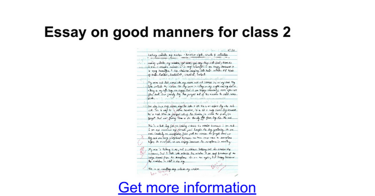 Essay on good manners in 150 words