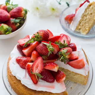 Vegan Lemon Almond Cake With Coconut Whipped Cream & Macerated Strawberries.