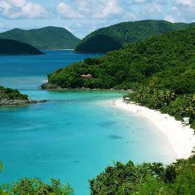St. John Islands by Anastasiya Manuilov - Landscapes Travel ( sand, st. john, green, ocean, blue, islands, usvi, beach )
