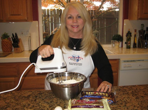 Mix butter, add cake mix, eggs & water. Mix well with hand mixer.