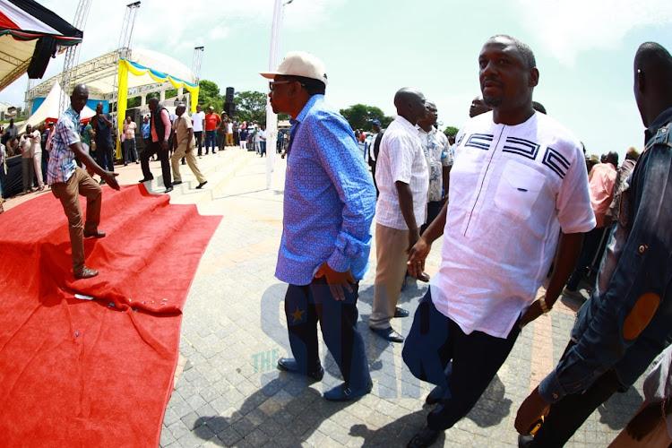 Siaya Senator James Orengo and Rarieda MP Otiende Amollo arrive at Mama Ngina Waterfront Park as attendees gear up for BBI rally on Saturday, January 25, 2020.