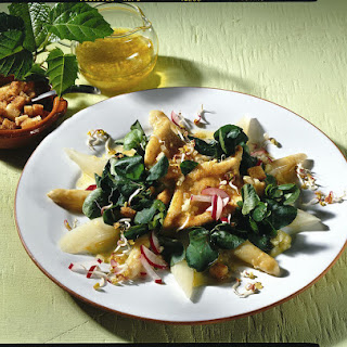 Fried Sole with Radish and Watercress Salad.