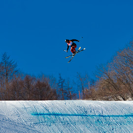Ski Freestyle Jump by Andrae McDonald - Sports & Fitness Snow Sports ( winter, olympics, takingoff, pyeongchsng, ski jump )