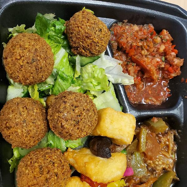 Falafel plate, cheese kabob