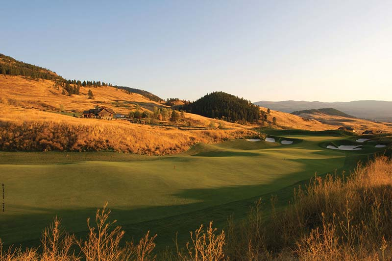A fairway at Tower Ranch Golf Club during sunset in Kelowna  British Columbia, Canada.