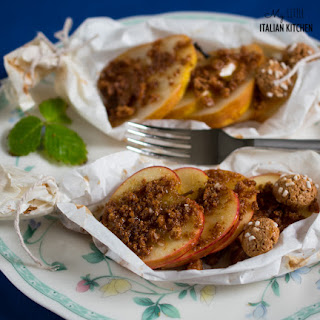 Amaretto Flavored Fruit Cooked In Parchment Paper For An Easy Tasty Dessert