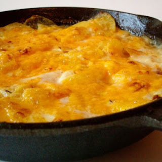 Blue Cheese and Cheddar Scalloped Potatoes.