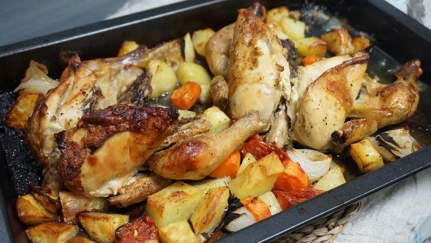 Pollo con verduras para comenzar la semana.