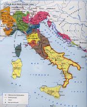 """Photo: Cartina """"politica"""" che indica le suddivisioni terrioriali dell'Italia, nel 1454, al momento della """"Pace di Lodi"""". Da """"Viaggio nella storia. Grande Atlante Storico del mondo"""". Touring Club Italiano, distribuito da """"La Repubblica"""" 1997"""