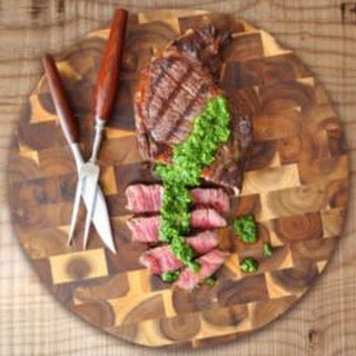 Grilled Ribeye Steak with Chimichurri Sauce.