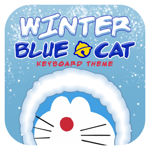 Winter Blue Cat Theme&Emoji Keyboard