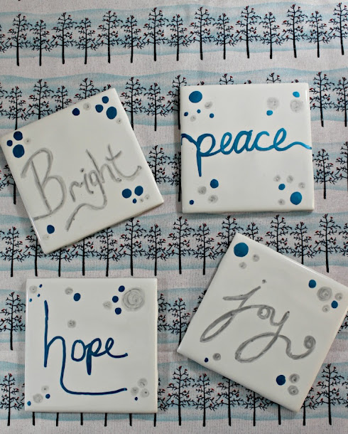 """Bright"", ""Peace"", ""Hope"" and ""Joy"" DIY Tile Coasters in silver & blue - perfect for Christmas!"