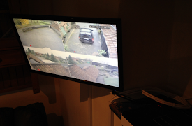 a screen with footage from different security cameras