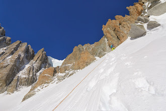 Photo: Mikko climbing above the bergschrund. Nothing beats these views!