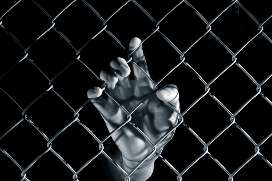 Hope by Etienne Tremblay - People Body Parts ( solitary, hand, confinement, fence, prison, pwchands, jail, hope )