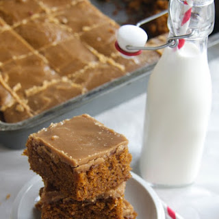 Pumpkin Bars with Old Fashioned Caramel Frosting