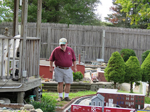 Photo: Don Deforge checking out the new and revised buildings