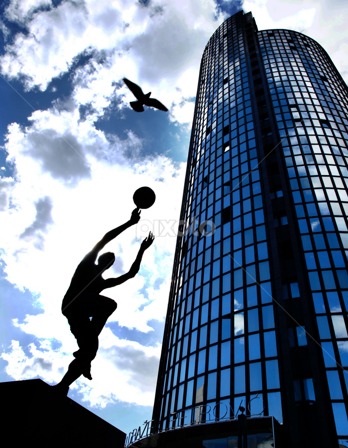 Fly Dražen, fly by Filip Caric - Buildings & Architecture Statues & Monuments ( drazen petrovic zagreb museum legend basketball croatia, looking, up, images, sky, open, contest, challenge )