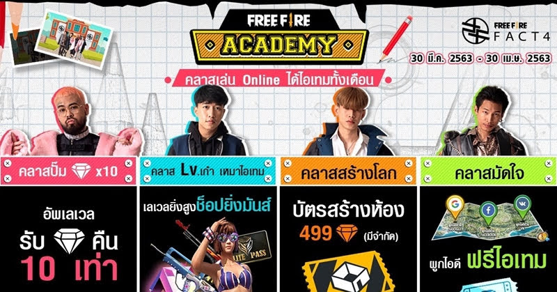 FREE FIRE ACADEMY คลาสเล่นออนไลน์ ได้ไอเทมตลอดทั้งเดือนเมษายนนี้!!