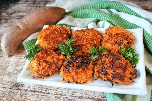 A Platter Of Sweet Potato Latkes (sweet Potato Pancakes).