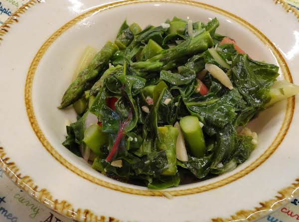 Quick Tasty Red Swiss Chard W/asparagus
