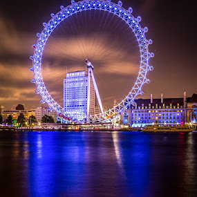 London Eye, UK by Charles Ong - Travel Locations Landmarks ( landmark, london eye, famous landmarks, uk, london, country hall, london eye pier, reflections, travel, nightscape, night, lights, , city )