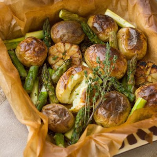 Oven-Roasted Potatoes and Asparagus
