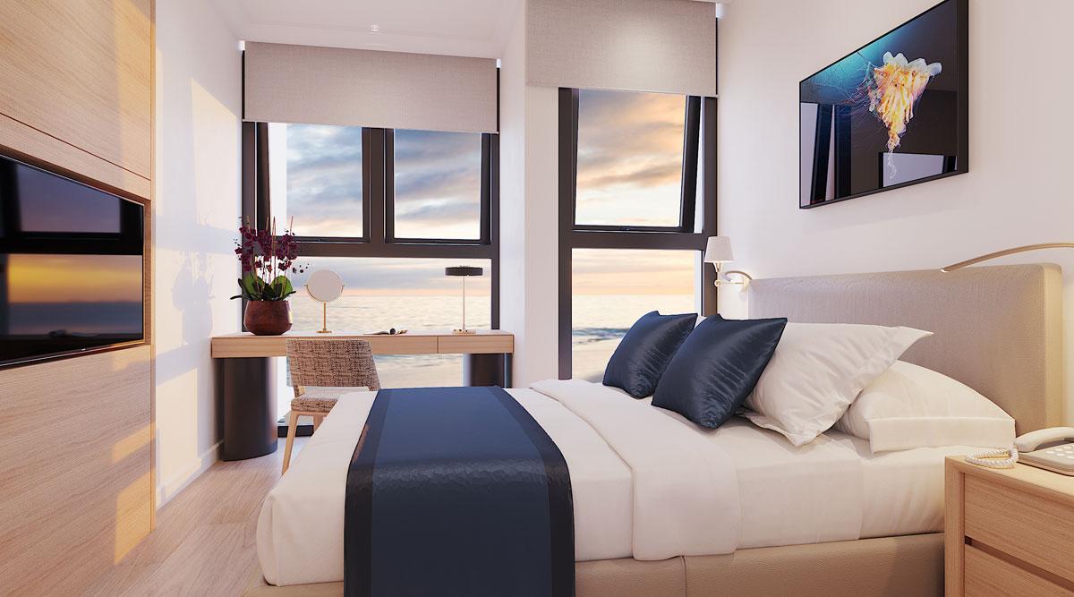 Phòng ngủ View biển Căn hộ Sunbay Park Phan Rang