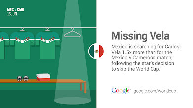 Photo: Carlos Vela may not be playing in this year's #WorldCup but he's definitely here in spirit… and on search. #GoogleTrends