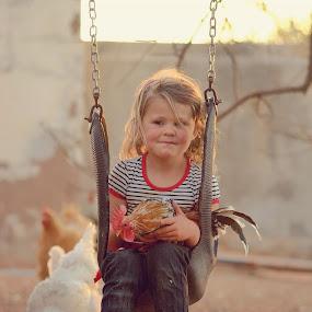 Farm girl by Chrismari Van Der Westhuizen - Babies & Children Children Candids ( chicken, farm, farmliving, girl, pet, south africa, dirty, children, kids, childhood, africa, swing, outside )