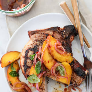 Grilled Pork Chops with Spicy Balsamic Grilled Peaches.