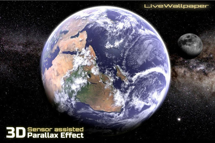 Earth & Moon in HD Gyro 3D Parallax Live Wallpaper Android App Screenshot