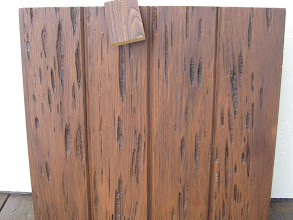 """Photo: Pecky Cypress """"Wood Free"""" Material with a Walnut colored finish."""