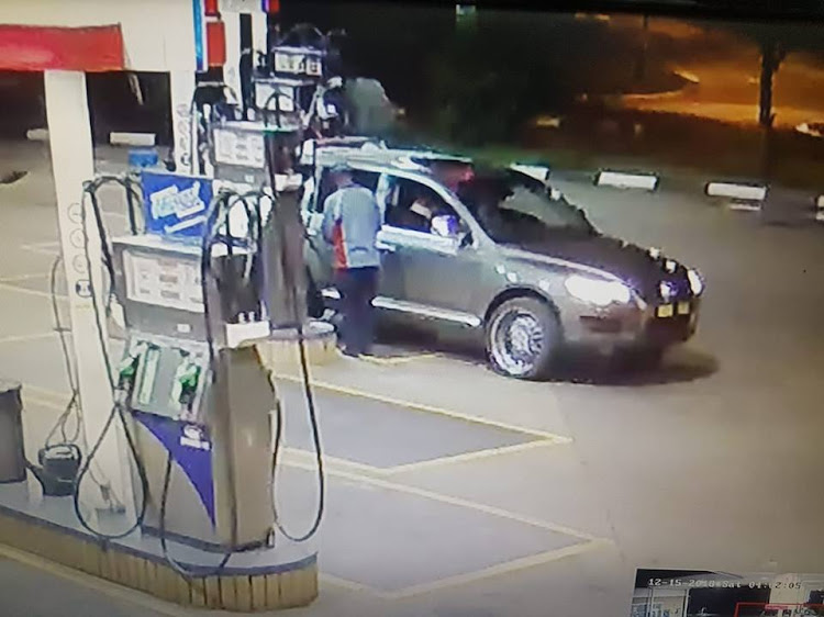 A screengrab of the CCTV footage recorded after a man filled his tank and fled. December 15, 2018